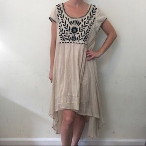 Free People Beige Black Embroidered Dress